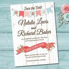 Wedding Save the Date Cards & Envelopes - White Wood Barn Vintage Bunting