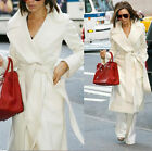 Stylish Women's Wool Cashmere Winter Noble Long White Jackets Coats Golilla Belt