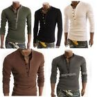 Men's Casual Long Sleeve Shirt Slim V Neck Tee Tops 5 Colors M-XL A0025 FKS