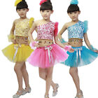 Blue Children Latin dance Dress kids Modern Ballet Dancwear Costumes Top+Dress