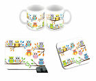 Cute Owls Design Mug, Mouse Mat & Coaster Any Occasion Gift