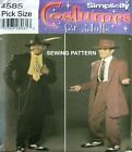 SIMPLICITY SEWING PATTERN Mens Retro Zoot Suit Swing Dance Costume 4585