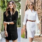 Vintage Women's Boyfriend Long Sleeve Tops Coat Casual Loose Shirt Dress Party