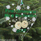 Our First Christmas as Mr & Mrs Heart Bauble Decoration Personalised Logs Gifts