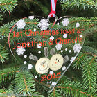 Personalised Cute Log Couple First Christmas together - Tree Bauble Decoration