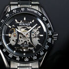 New Black Silver Steel Steampunk Mens Mechanical Skeleton Automatic Sport Watch