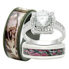 camo wedding band sets - His and Hers 3PCS Titanium Camo 925 Sterling Silver Engagement Wedding Rings Set