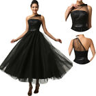 50s Long Black Evening Masquerade Ball Gown Prom Bridesmaid Dress PLUS Size 6-20