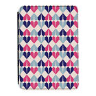 Geometric Hearts Blue Pink Kindle Paperwhite Touch PU Leather Flip Case Cover