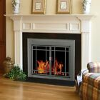 Pleasant Hearth Edinburg Prairie Cabinet Fireplace Screen and 9-Pane Smoked
