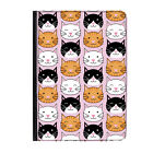 Cat Faces Tabby Kitten Cute Funny Universal Tablet 7* Leather Flip Case Cover