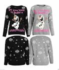 Ladies Womens Girls Xmas Do You Want Build A Snowman Knitted Christmas Sweater