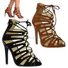 WOMENS LADIES HIGH HEEL LACE UP ZIP UP STILETTO GLADIATOR STRAPPY SANDALS SIZE