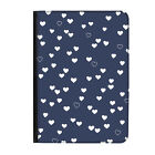"""Blue Hearts Pattern Love Navy Universal Tablet 7"""" Leather Flip Case Cover"""