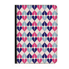 """Geometric Hearts Blue Pink Universal Tablet 7"""" Leather Flip Case Cover"""