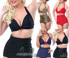 AU SELLER SZ 6-20 Vintage High Waist Padded Bikini Set Swimwear Swimsuit sw042