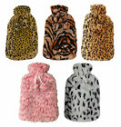 Large Hot Water Bottles Xmas Gift With Removable Fleece Soft Cosy Animal Print