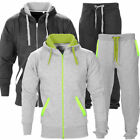 New Mens Tracksuit Set Fleece Hoodie Top Bottoms Jogging Joggers Gym CONTRAST