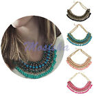 1X Womens Teardrop Pendant Chain Crystal Choker Chunky Statement Bib Necklace