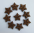 10 - Novelty Wooden Buttons - small Snowflake #2 - Kids/Christmas - Crafts/Cards