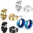 Men's Punk Rock 4mm Stainless Steel Hoop Huggies Piercing Cool Earrings One Pair