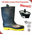 Mens Black Winter Snow Rain Boots Warm Fleece Lined Thermolite Rubber Insulated