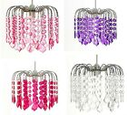 Chandelier Style Chrome Acrylic Crystal Beads Ceiling Light Pendant Shade-Gemma