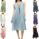 Women's Multi-layered Embroidered Cotton Loose Fit Dress, Size S/M
