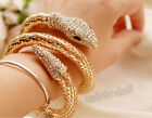 Vogue Punk Rhinestone Snake Curved Chunky Stretch Crystal Bangle Cuff Bracelet
