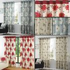 Annie Lined Eyelet Curtains Floral Flowers Leaves Ready Made Pair Ring Top