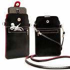 Black PU Leather Handbag Case Shoulder Cross-body Bag Pouch Cover For Cell Phone