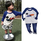 Cute Baby Kids Boys Clothes Long Sleeve Tops T-shirt Pullover Sweatshirt 2T-5T
