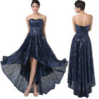 Shiny Sequins HIGH-LOW Strapless Bridesmaid Formal Evening Cocktail Party Dress