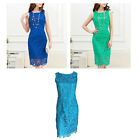 Sleeveless Lace Party / Race Dress In Blue, Green, Teal Size 12, 14, 16, 18