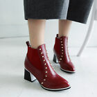 H new fashion womens Rivet metallic British style sexy pu ankle boots shoes