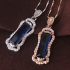 Pendant promise gift ! 18k gold/white gold filled CHIC sapphire wedding necklace