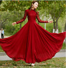 Womens Chiffon Lace Long sleeve Ball Gown Evening Cocktail Formal Party Dress