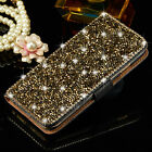 Luxury Wallet Metal Crystal Diamond Flip Leather Case Cover For iPhone Samsung