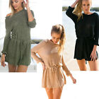 Fashion Women Casual Long Sleeve Sweater Evening Party Cocktail Short Mini Dress