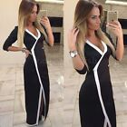 Womens V-neck Bodycon Slim 3/4 Sleeve Cocktail Party Long Maxi Tops Dress Coat