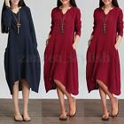 UK 8-16 Ladies Cotton Linen Sundress Long Sleeve Loose Top Maxi Dress Shirt Plus