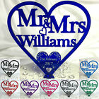 Heart Wedding Cake Topper Personalised Printed Swirl Centrepiece Keepsake Mr Mrs