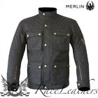 MERLIN ARMITAGE MENS BLACK WAX COTTON WATERPROOF MOTORCYCLE MOTORBIKE JACKET