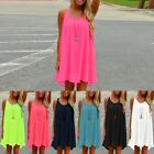 Womens Summer Casual Loose Sleeveless Beach Mini Dress Sundress Tank Top Vest