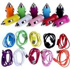 2 IN 1 CAR CHARGER + MICRO USB DATA CABLE FOR HTC SAMSUNG BLACKBERRY SONY NOKIA