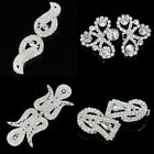1 Pair Sparkling Crystal Rhinestone Silver Buttons Sewing Scrapbooking Crafts
