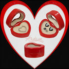 Deluxe Wooden Red Heart Universal Gift Box / Jewelry Set Engagement Ring Earring