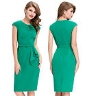 Womens Summer Party Wiggle Round Neck Retro 50s Vintage Hips-Wrapped Dress