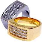 R2 Men's Stainless Steel Gold Silver Hip-Hop 3 rows CZ Iced Out Ring Size 8-13