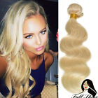 Wavy Indian Virgin Human Hair Weft Weave Extensions 100g #613 Blonde 14-28""